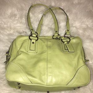 Coach lime green leather shoulder bag